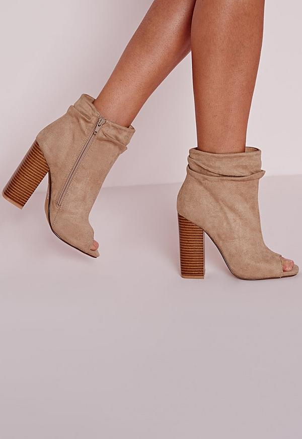 Ruched Detail Peep Toe Ankle Boots Nude