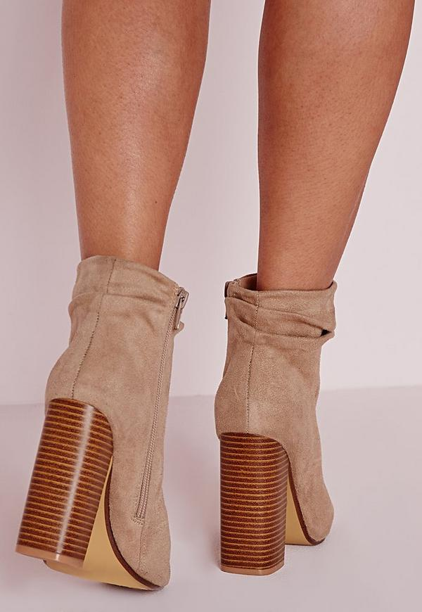 Ruched Detail Peep Toe Ankle Boots Nude | Missguided