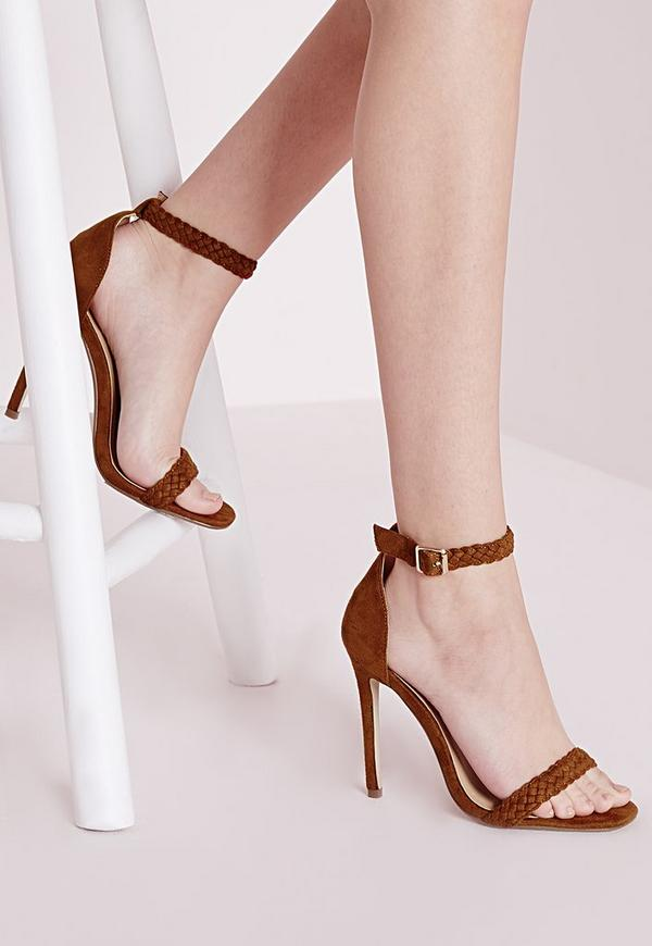 Plaited Strap Barely There Heeled Sandals Tan
