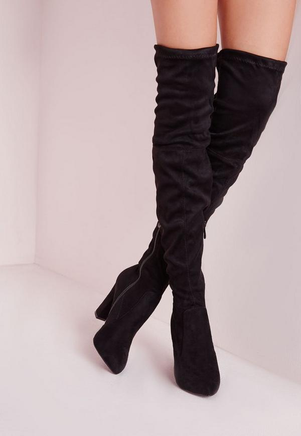 Over The Knee Heeled Boots Back - Shoes - Boots - Missguided