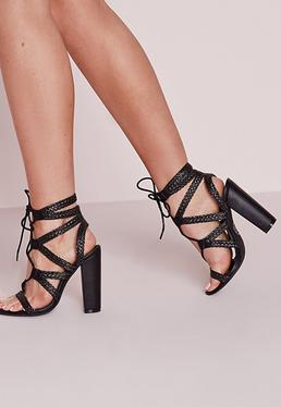 Plaited Lace Up Block Heel Sandals Black
