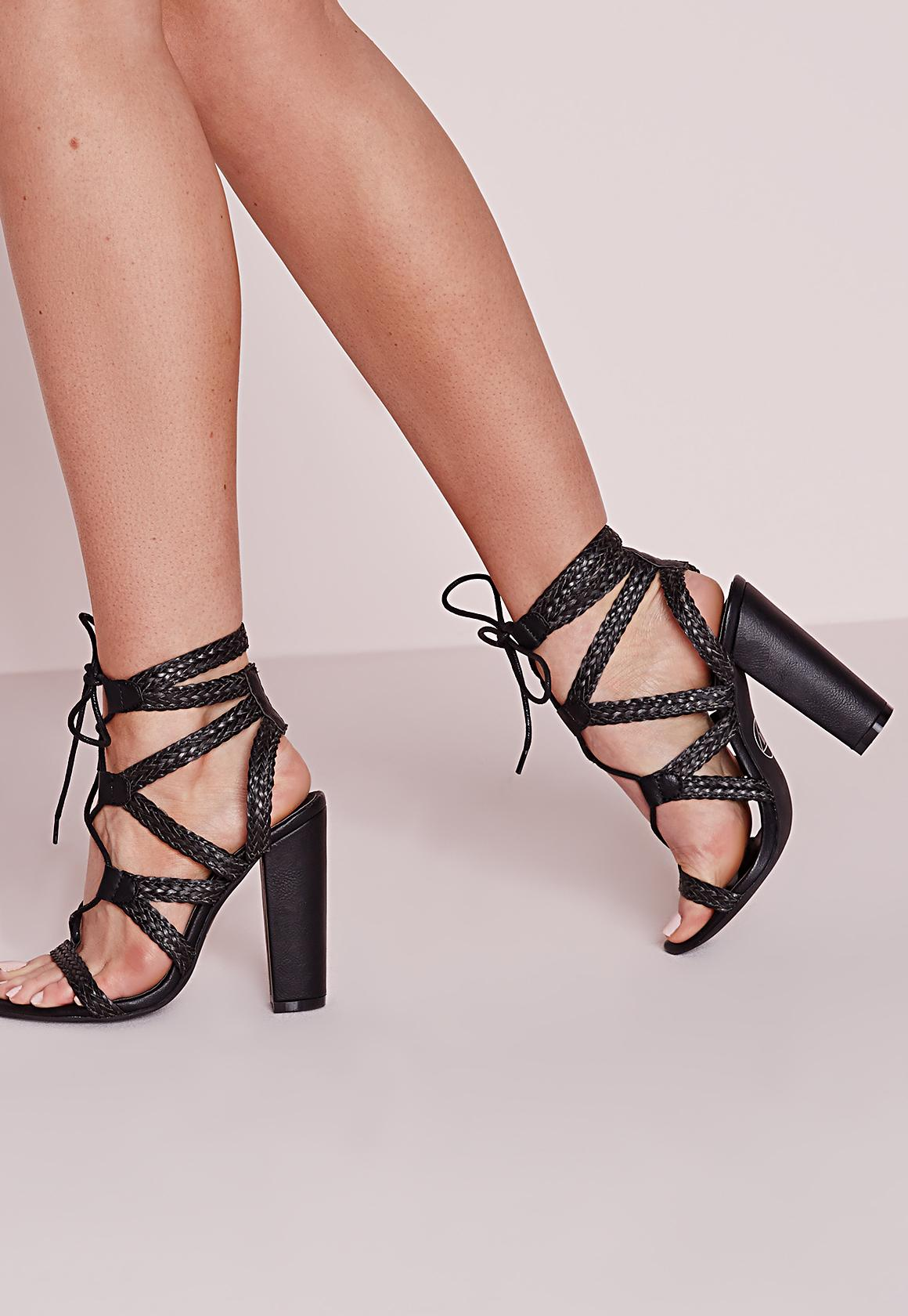 Plaited Lace Up Block Heel Sandals Black | Missguided