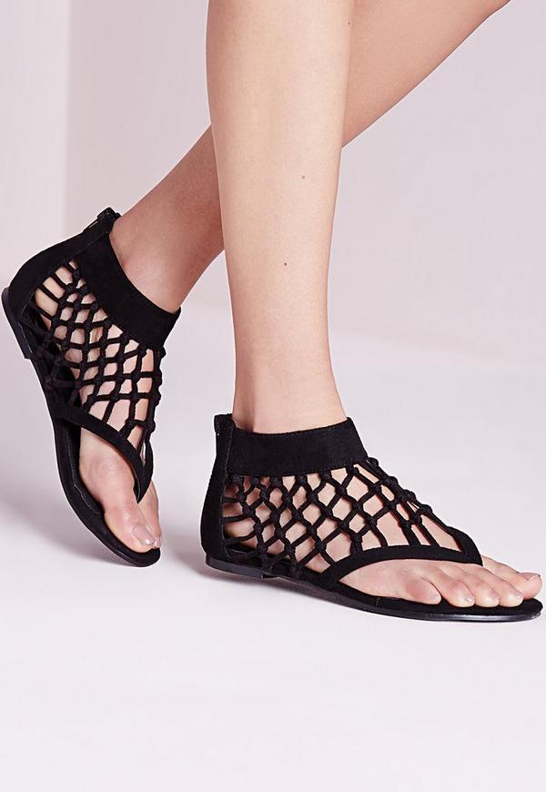 Knot Detail Toe Post Flat Sandals Black
