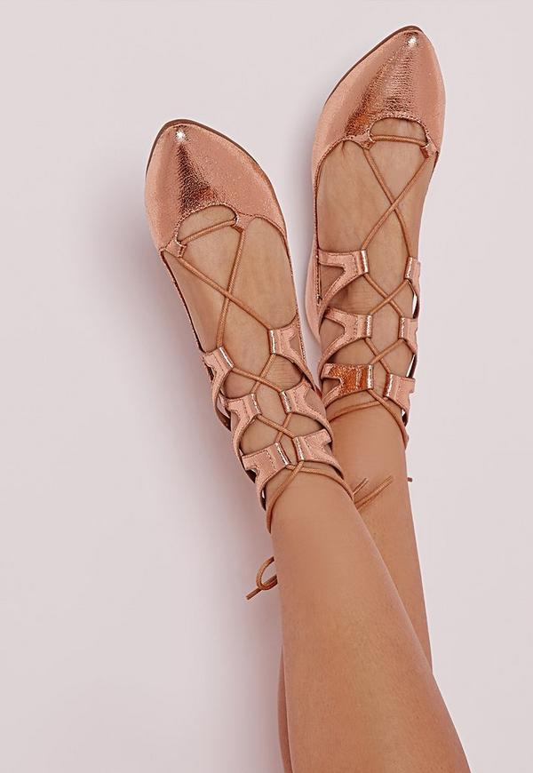 Lace up pointed flats Rose Gold