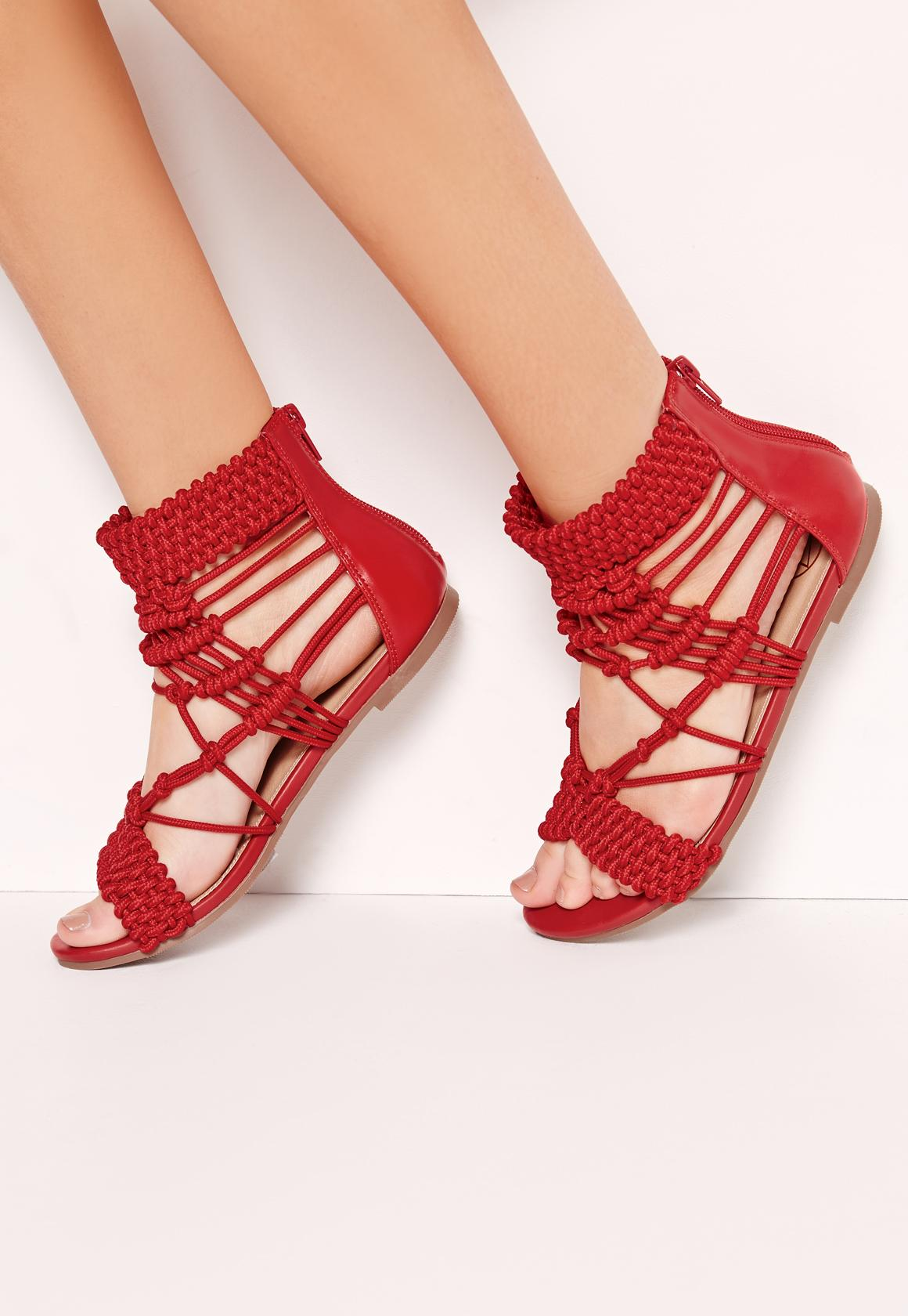 3c5632957bd0e7 Origami Rope Flat Sandals Red
