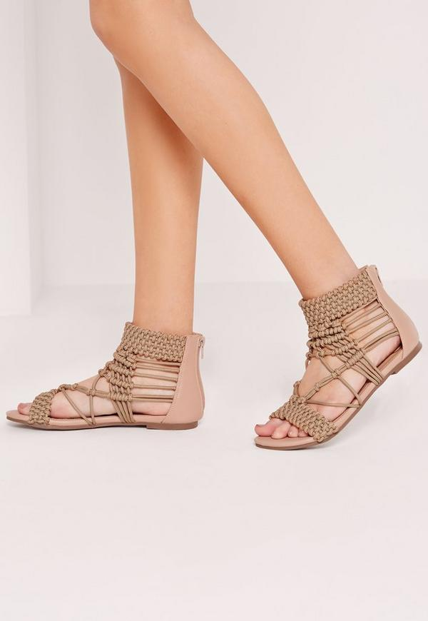 Origami Rope Flat Sandals Nude