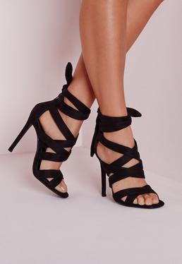 Lace Up Gladiator Heels Black