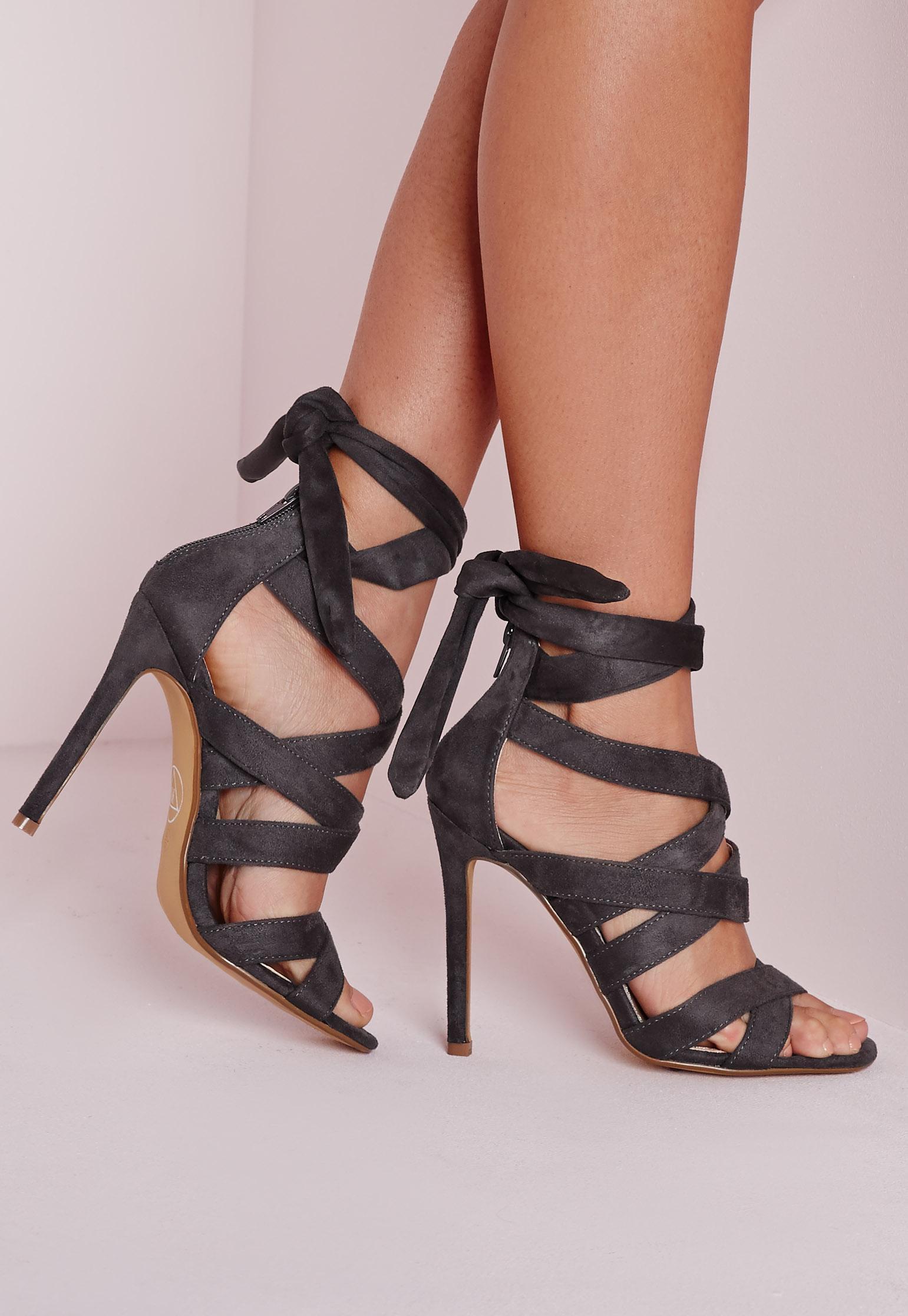 Lace Up Gladiator Heels Grey - Heels - Footwear - Missguided