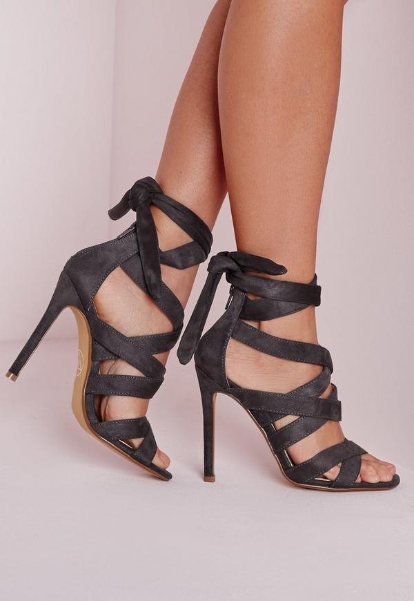 Lace Up Gladiator Heels Grey