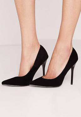 Black Faux Suede Pointed Stiletto Court Shoes