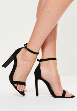 Sandalias de tacón minimalistas con puntera en punta negras