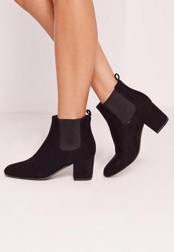 Low Heel Chelsea Ankle Boot Black