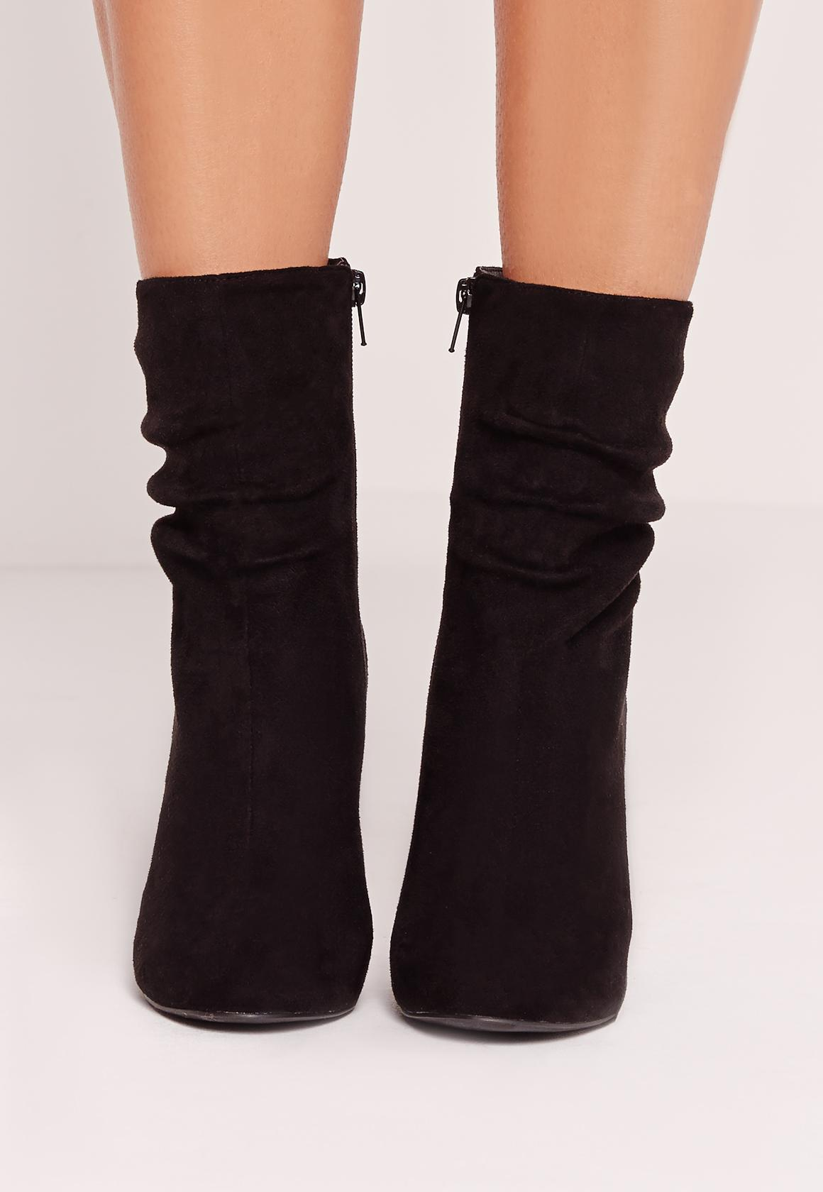 Black Faux Suede Rouched Flared Heel Ankle Boots