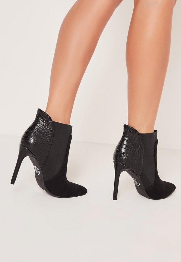 Black Croc Heel Pointed Toe Ankle Boots