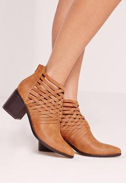 Woven Detail Pointed Toe Ankle Boots Tan