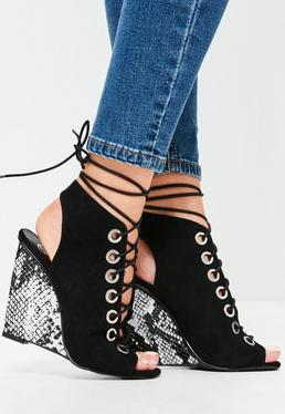 Oversized Eyelet Snake Wedge Sandals Black