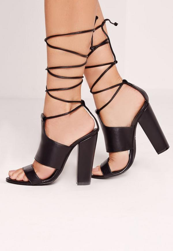 Tie Ankle Strap Block Heels Black