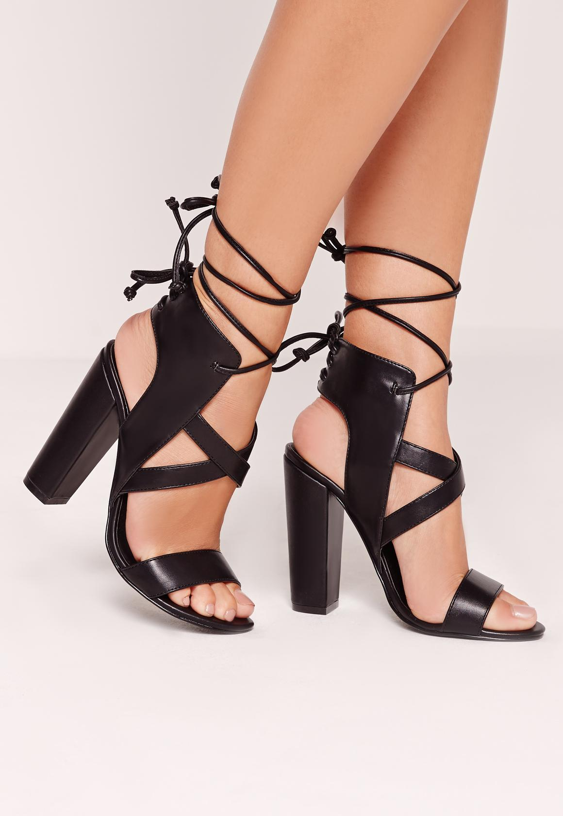 Cross Strap Lace Back Block Heeled Sandals Black