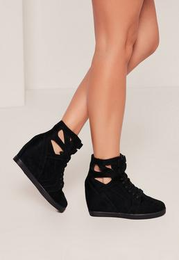 Black Cut Out Wedge High Top Sneakers