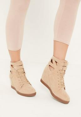 Nude Cut Out Hidden Wedge Trainers