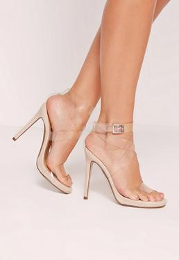 Transparent Cross Strap Heeled Sandals Nude