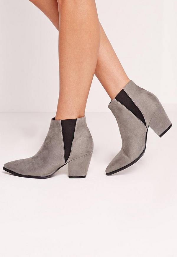 Grey Faux Suede Pointed Toe Chelsea Boots