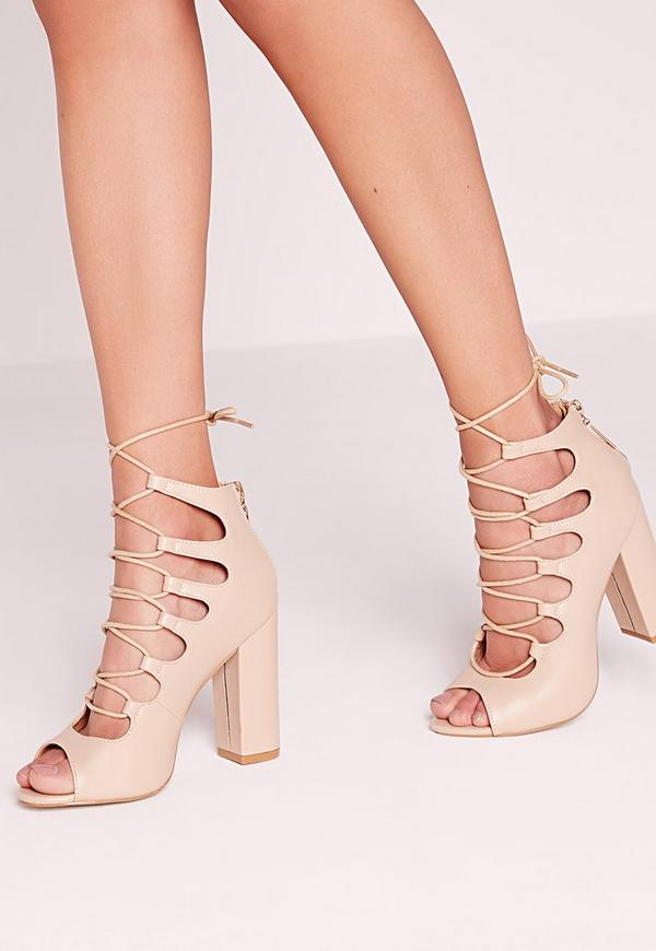 Block heel lace up sandal Nude