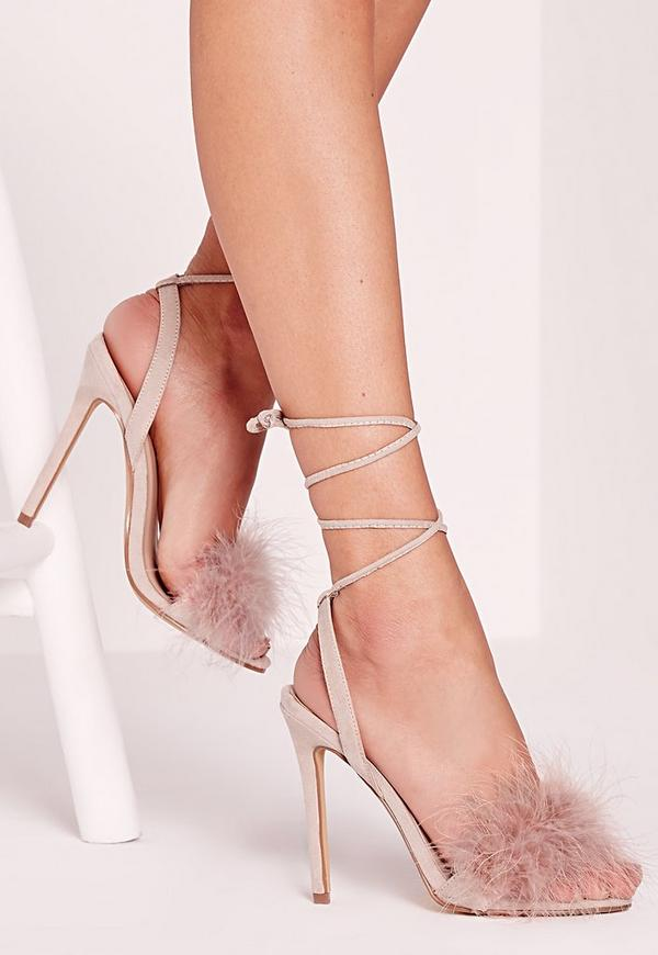 Lace up Feather Heeled Sandals Nude