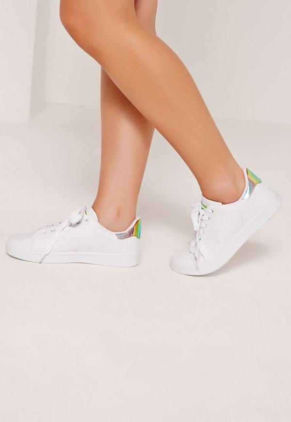 Holographic Reptile Tab Tennis Trainers White