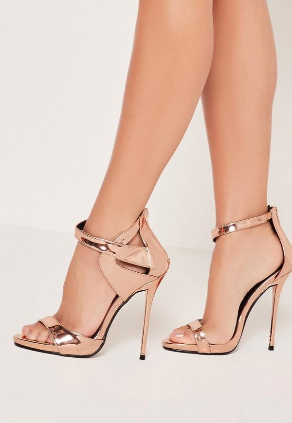 Asymmetric Strap Barely There Heels Rose Gold | Missguided