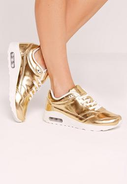 Gold Mirrored Lace Up Bubble Detail Sneakers
