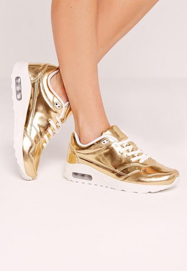 Mirrored Lace Up Bubble Detail Trainer Gold