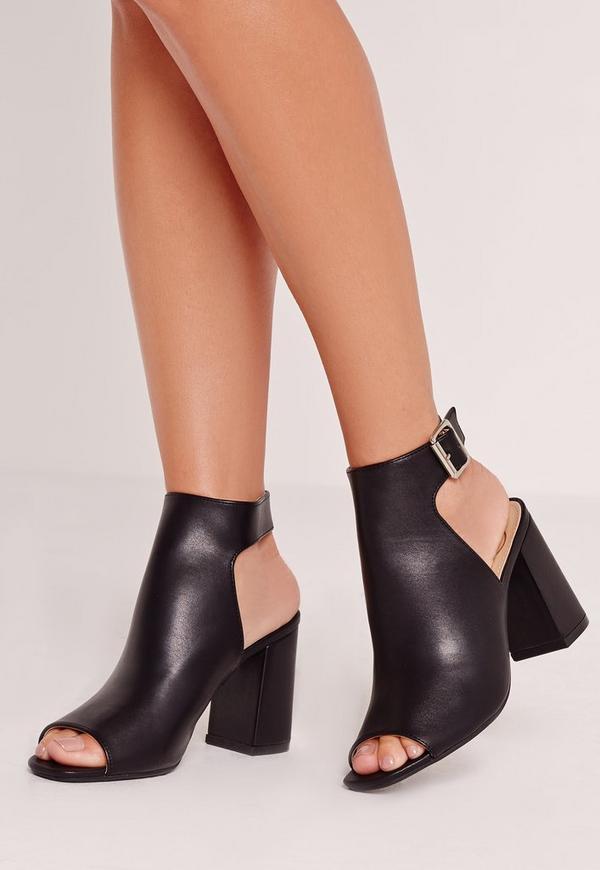 Block Heel Cut Out Sandal Black
