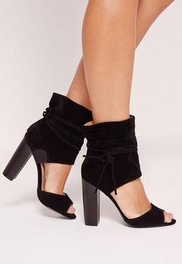 Block Heeled Ankle Cuff Sandals Black