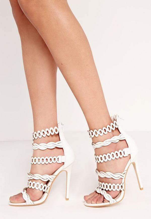 Twist Strap Heeled Sandal White