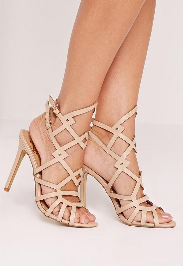 Laser Cut Strappy Heeled Sandal Nude