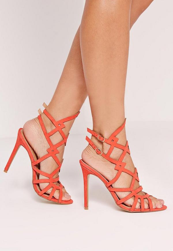 Laser Cut Strappy Heeled Sandals Pink