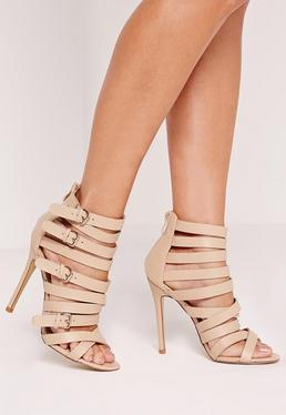 Buckled Strappy Heeled Sandals Nude