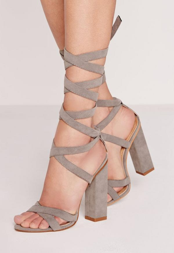 Squared Block Heel Lace Up Grey Sandals