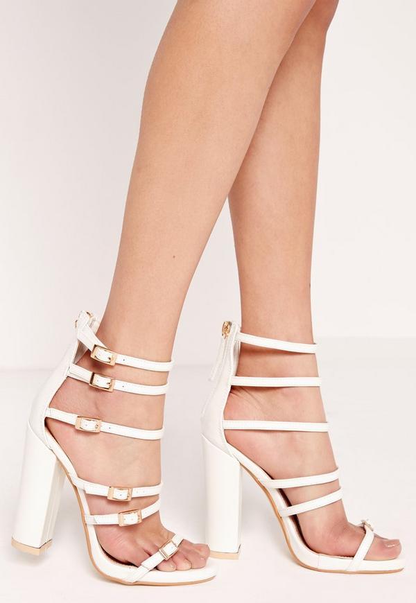 Block heel buckled sandal White