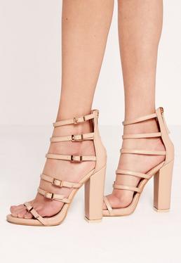 Block heel buckled sandals Nude