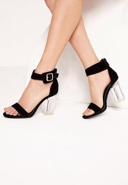 Perspex Barely There Block Heels Black