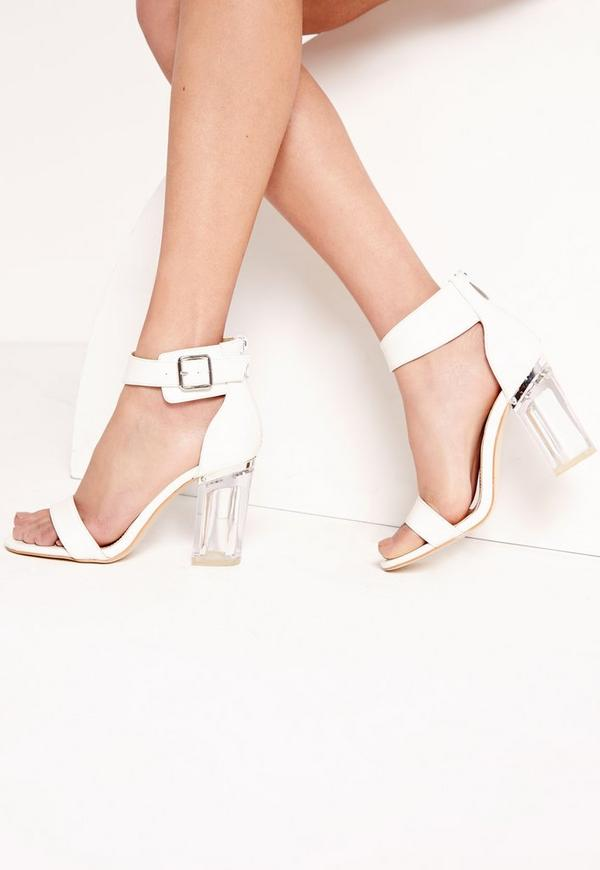 Perspex Barely There Block Heels White