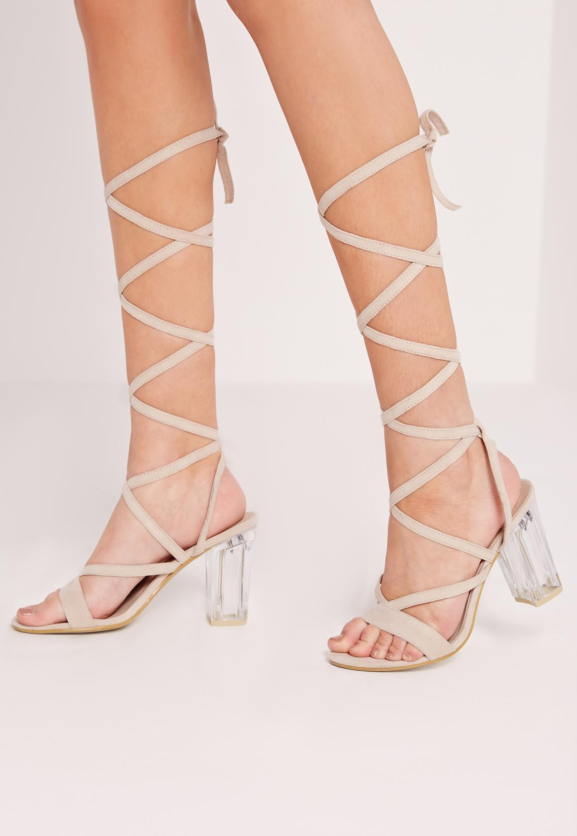 Perspex Heel Lace Up Sandal Nude