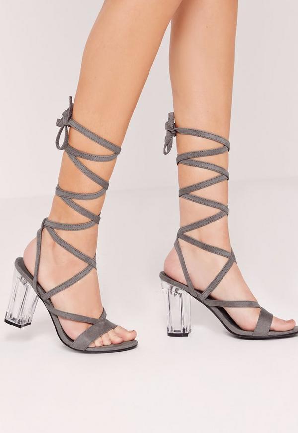 Perspex Heel Lace Up Sandal Grey