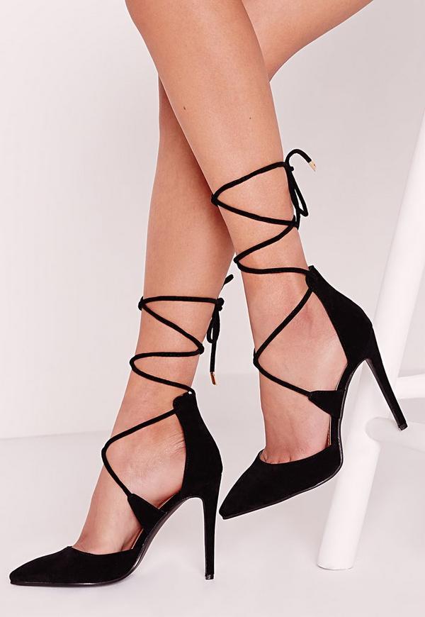 Lace Up Court Shoes Black