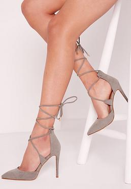 Grey Lace Up Court Shoes