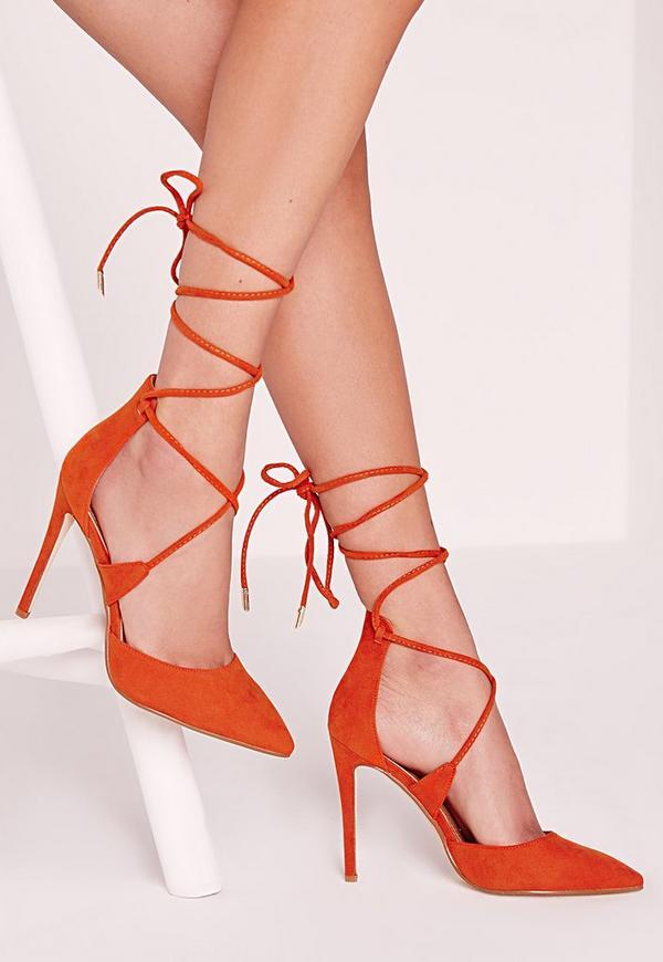 Lace Up Court Shoes Orange