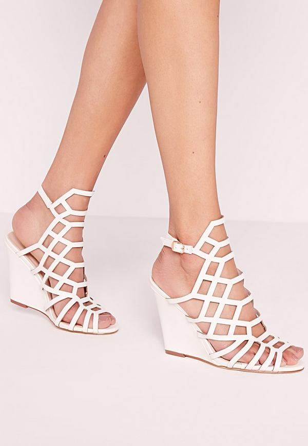 Laser Cut Wedge Sandal White