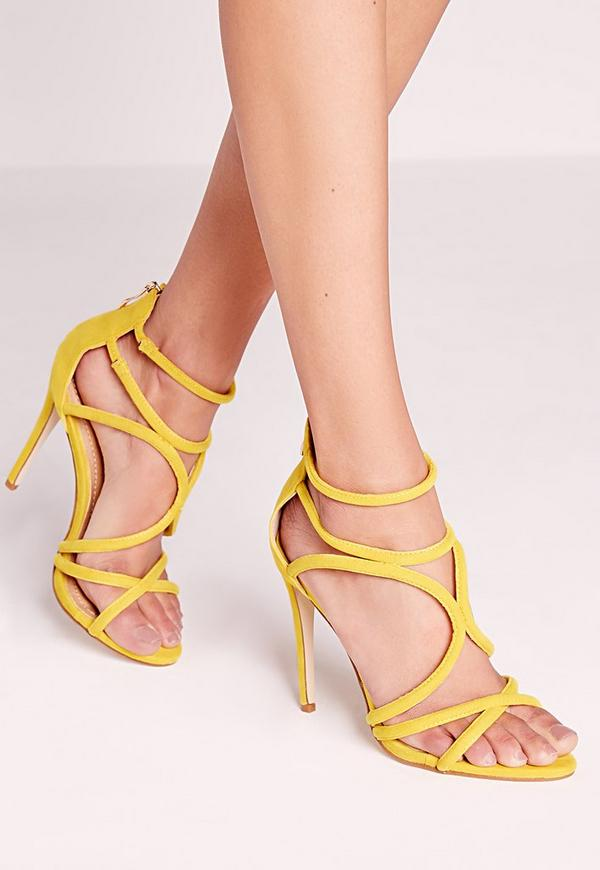 Curved Strap Heeled Sandal Yellow